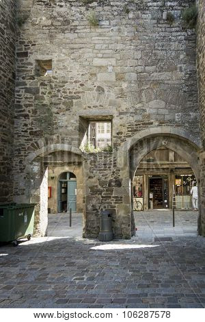 Archways In The Old City Wall At Dinan, Brittany, France