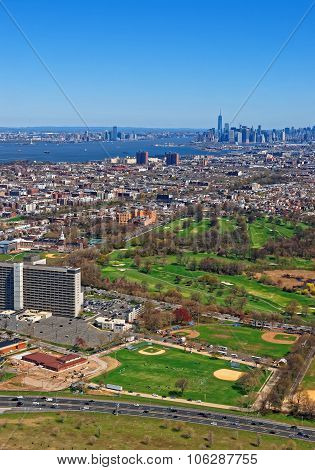 Aerial View Of Prospect Park In Brooklyn And Downtown Manhattan In The Background