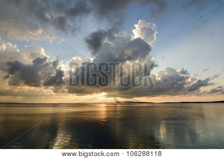 Reflection at sunset on the lagoon