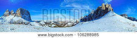 Beautiful Winter Mountain Panorama (sella Pass , Italy).