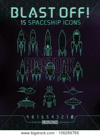 Retro Space Rocket Icons