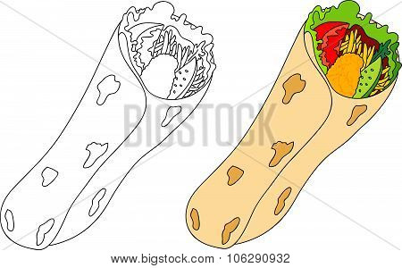 Shawarma With Meat, Tomato, Onion, Salad, Pita. Coloring Book For Kids About Food