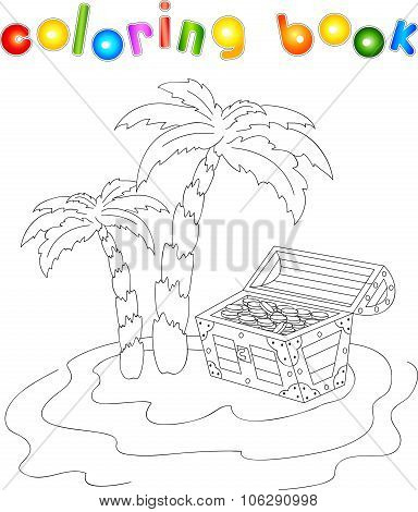 Treasure Chest And Palms On The Island. Coloring Book For Kids