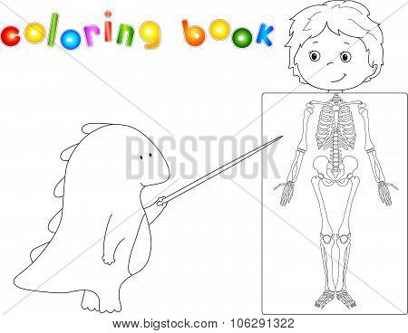 Doctor Dragon And Patient Whose Body Is Shown In The X-ray. Coloring Book For Kids About Anatomy And