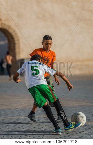 Essaouira, Morocco - Circa September 2015 - Kids Playing Soccer