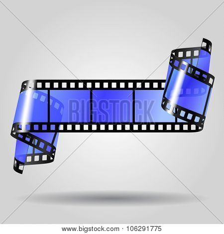 Curled blue film strip on gray background. Movies concept. Vector illustration