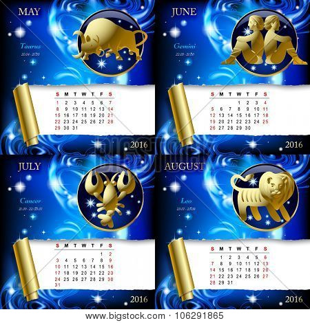 Zodiacal Calendar pages of 2016 for May, June, July, August with gold zodiacal sign against the blue star space background.
