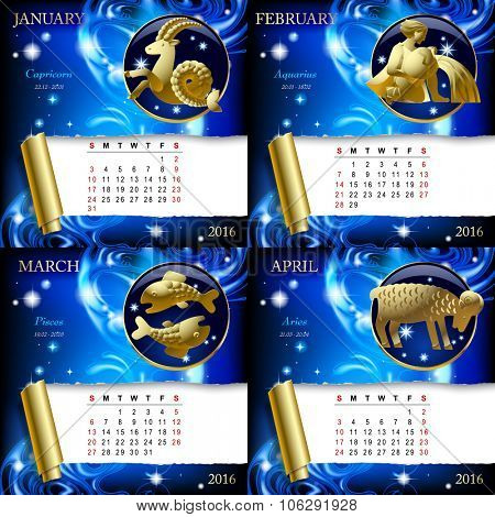 Zodiacal Calendar pages of 2016 for January, February, March, April with gold zodiacal sign against the blue star space background.