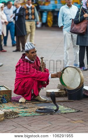 Marrakesh, Morocco - Circa September 2015 - Snake Charmer On Dje