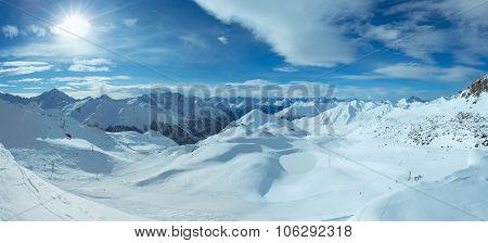 Silvretta Alps Winter View (austria). Panorama.