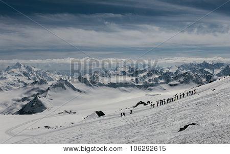 Mountaineers Climbing Mount Elbrus.