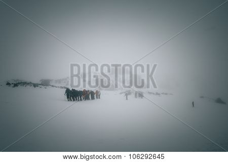 Mountaineers At Mount Elbrus.