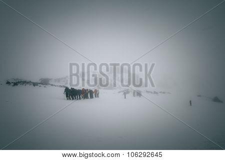 Mountaineers At Mount Elbrus.