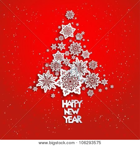 Christmas tree from snowflakes on red. 2016 Happy new year. Design for card, banner, invitation, leaflet and so on.