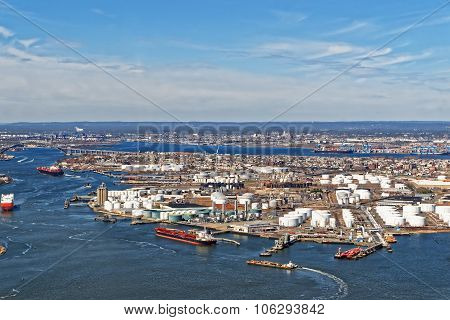 View Of Port Newark And The Shipping Containers In Bayonne