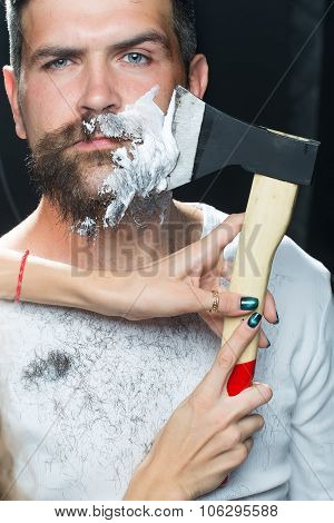 Bearded Man Having Shaved