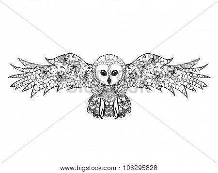 Zentangle stylized owl.