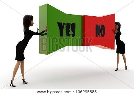 Woman Pushing  Yes No Text From Both Direction Concept