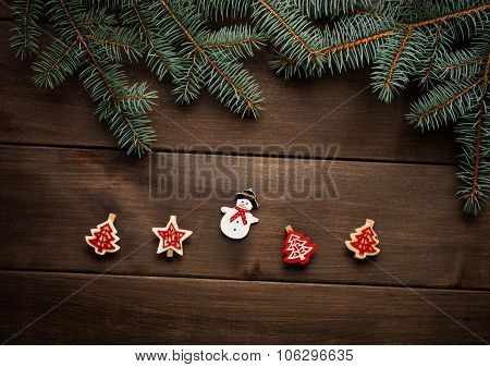 Christmas decoration on wooden background vintage paper christmas card