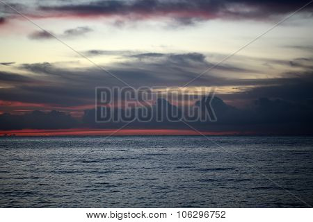 Blue And Red Sunset Seascape