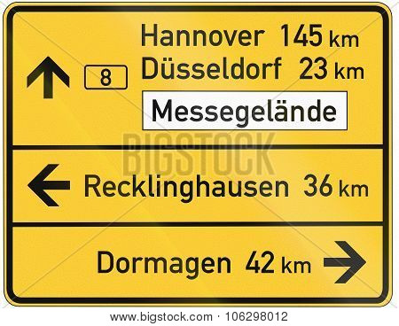 German Direction Sign Showing Various Places Including Hannover And Duesseldorf On The Federal Road