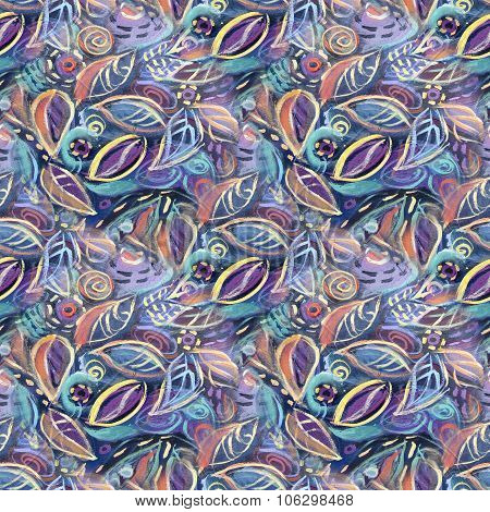 Colorful background with leaves, acrylic painting. Abstract foliage seamless pattern background for