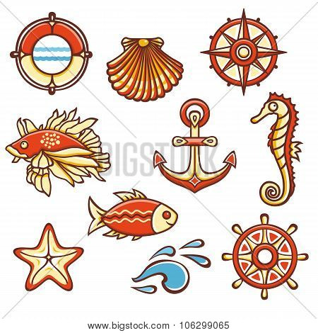 Sea set. Fish, starfish, seahorse, steering wheel, compass, life buoy, waves, anchor, shell. Cheerfu