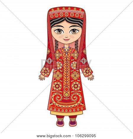 The girl in Tajik dress.  Historical clothes. Linear pattern on a white background.  Line drawing fe