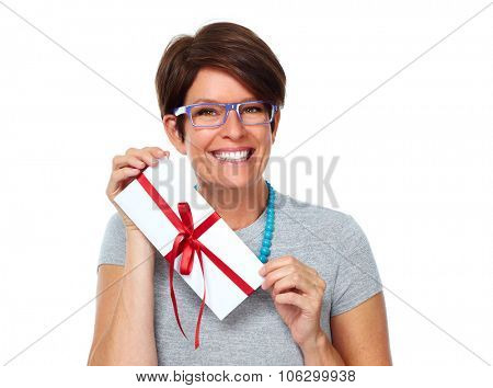 Beautiful shopping woman with envelope gift isolated on white background.