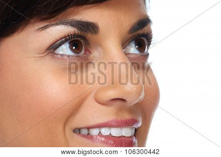 Beautiful woman face isolated over white background.