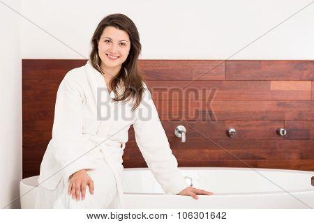 Girl In Modern Bathroom