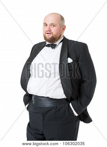 Jolly Fat Man In Tuxedo And Bow Tie Shows Emotions