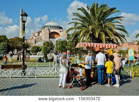 Families Stay Near Fast-food Booth And Going To Hagia Sophia During Holidays