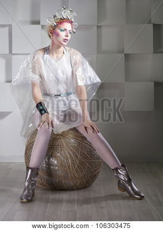 Futuristic Young Beautiful Woman