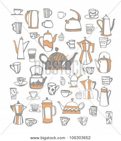 Vector Set Of Coffee And Tea.  Hand Drawn Element Design.