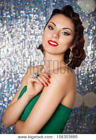 Beautiful Sexy Young Brunette Woman With Wavy Hair, Bright Evening Make Up Red Lips