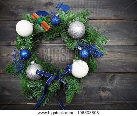 Advent Christmas Wreath On Wooden Background