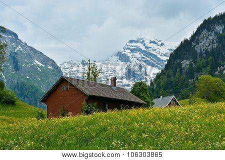 Snowy Mount Saentis (santis) Viewed From Alt St Johan, Switzerland