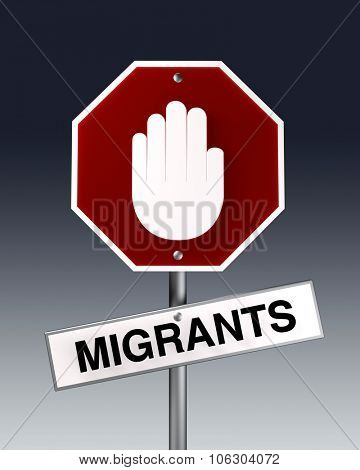 Stop migrants as a road sign