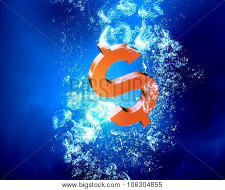 Dollar sign sink in clear blue water