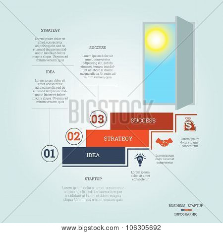 Business Success Startup Infographics Three Positions