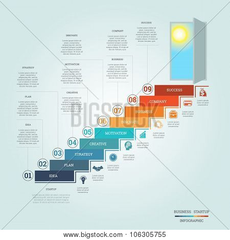 Business Success Startup Infographics Nine Positions
