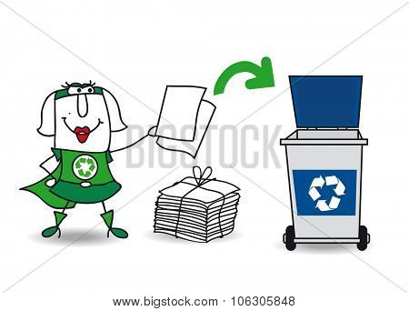 Super recycling girl recycles paper. Karen, the super green women recycles paper and carton in a specific trash