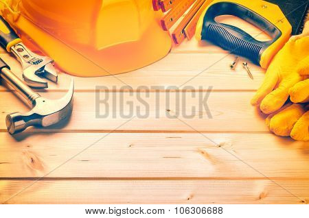 Set Of Various Tools On Wooden Background With Copy Space