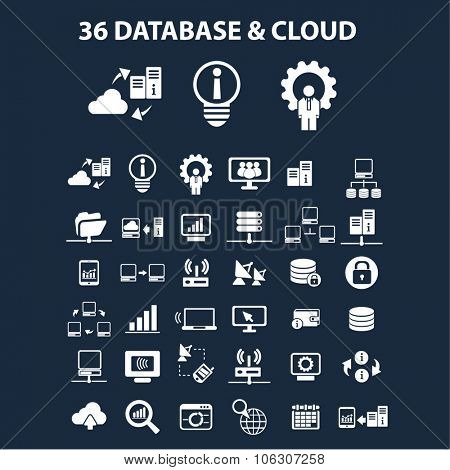 database, cloud illustrations, icons, signs, concept vector set for web, infographics