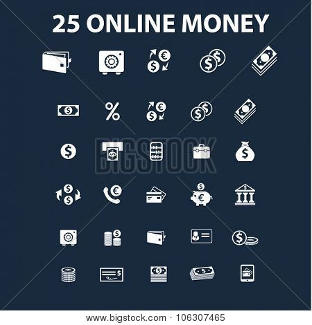online money, banking icons set vector for infographics