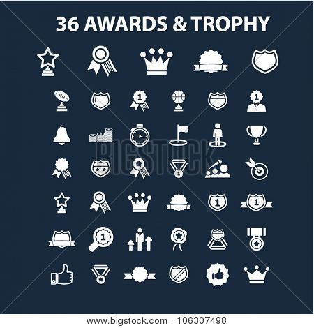 awards, trophy, prize icons set, vector