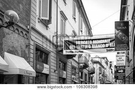 Alba (Cuneo), signs of the International Truffle Fair. Black and white photo.