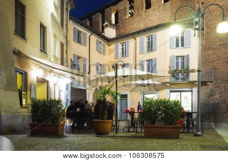 Night life in Vigevano (Pavia). Color image