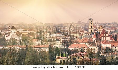 Vilnius Oldtown - Aerial View Of The Capital Of Lithuania